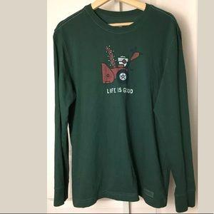 Life Is Good Christmas Lights L/S T Shirt